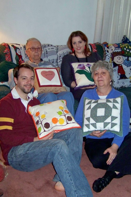 Christmas Gifts from my grandmother and me, pillows made from her left over quilt blocks.